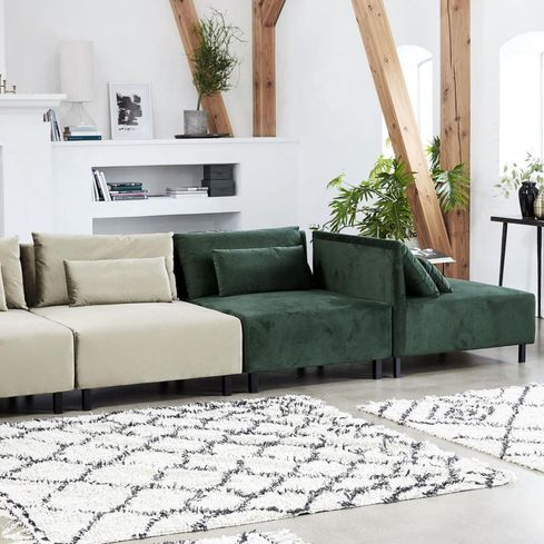 Loungebank Met Fauteuil.House Doctor Fauteuil En Bankelement Box Met 2 Kussens Belunga Groen